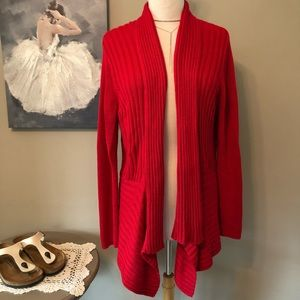 Chico's Cotton Blend Open Front Cardigan.